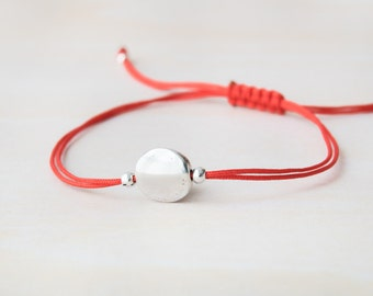 Red bracelet, red cord with silver bead, friendship bracelet, simple bracelet, silver circle, simple bead bracelet, 925 sterling silver