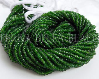 "13"" strand rare AAA CHROME DIOPSIDE faceted gem stone rondelle beads 2.5mm - 3mm green"