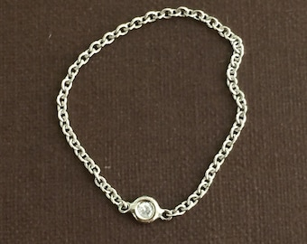 14k solid white gold and genuine white  diamond chain ring , flexible ring , dainty ring , accent ring