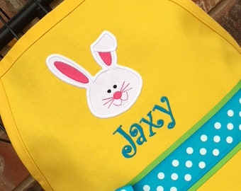 Bunny Apron, Rabbit Apron, Personalized Embroidery, Yellow Apron, Birthday Party Favor, Birthday Gift for Girl, Fancy Girly Apron