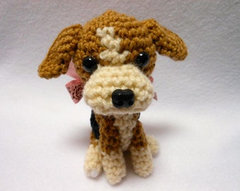 Beagle Crochet Dog in Black, Tan and Cream Yarn,Canine,Dog Lover, Stuffed Dog, Hound, Hunting Dog