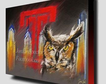 Temple University Art - Temple Owls - Philly Art - Dorm Decor - Dorm Wall Art- Stella - Philadelphia Gifts - brotherly love - art print