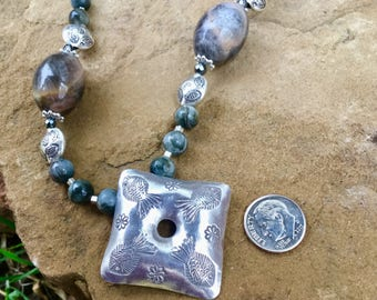Grey Moonstone , Eagle eye, and Hill tribe silver bead necklace