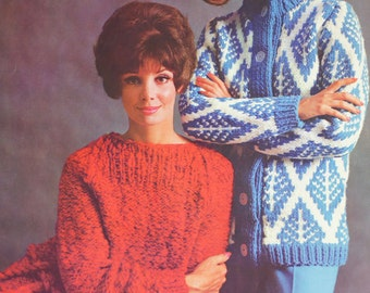 Vintage Knitting Sweater pattern PDF Loose sweater 1960s knitting