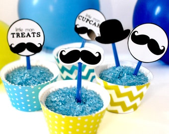 Instant Download Little Mister Mustache Cupcake Toppers and Wraps  Digital Clip Art Collage Sheet
