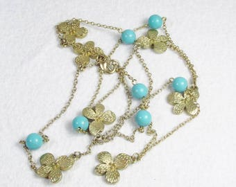 Vintage round turquoise beads gold metal flowers charm necklace