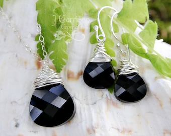Sterling silver wire wrapped jet black Swarovski crystal briolette necklace and earring set - dramatic sparkly crystals - Free shipping USA