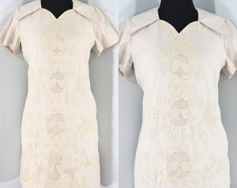 1960s Buff Cotton Eyelet Wiggle Dress by Manford, Small to Medium   60s Vintage Oatmeal Dress (S, M, 35-36-38)