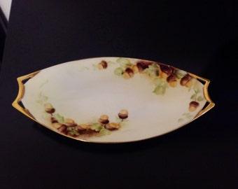 Hutschenreuther Handpainted Tidbit Dish, Signed, Acorn Design