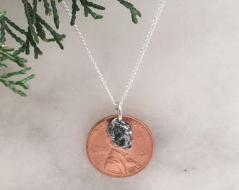 Lucky Penny Necklace | best geek girl gifts | Meteorite Necklace | lucky charm penny | good luck gift ideas | good luck necklace
