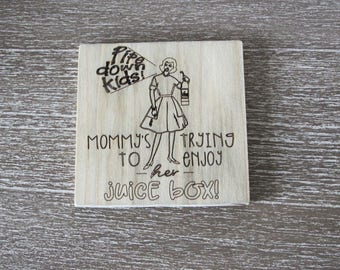 Wine Coaster Set for Moms- funny gift for new mothers, new baby, wine lover