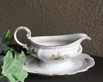 Sepia Rose Gravy Boat Johann Haviland w/ Attached Underplate Vintage China - #R0081