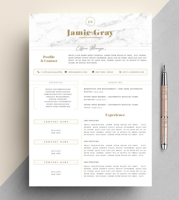 Professional Resume Template Microsoft Word: Professional Resume Template CV Template Editable In MS Word