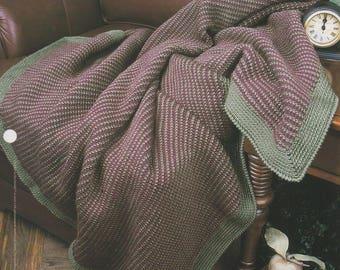 Pinstripe Afghan on the Double, Annie's Attic Crochet Quilt & Afghan Pattern Club Leaflet QAC378