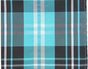 Men's Polyester Plaid Black Turquoise White Handkerchief, for Formal Occasions (2012)