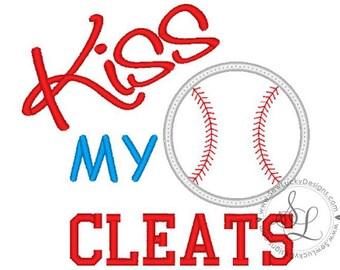Personalized Kiss My Cleats Baseball Softball Monogram Applique Shirt or Bodysuit Girl Boy
