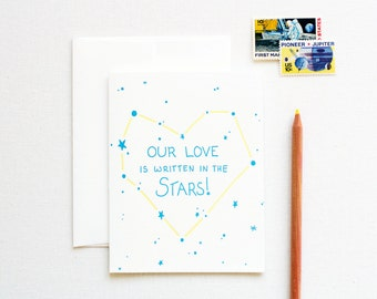 Love is Written in the Stars Letterpress Card