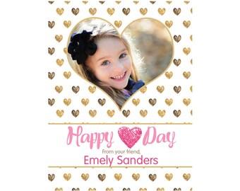 Love Day Photo Valentine Cards- Kids Valentine's Cards, Happy Valentine's Card, School Valentine's Cards