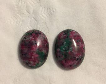Oval Natural Ruby in Fuchsite Gemstone Clip Earrings.