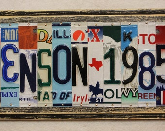 Last Name 6 Letters and Wedding Year Date Grad 10th 20th 30th 40th 50th Anniversary Gift Custom Made to Order License Plate Art Sign Plaque