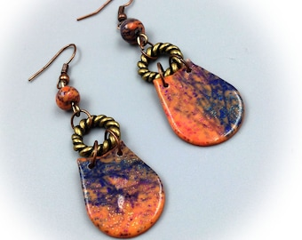 Earrings, polymer clay, blue and orange, ethnic style.