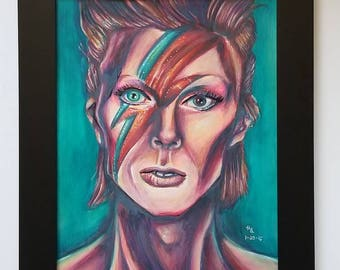 Colored Pencil David Bowie Portrait Drawing --- 11x14 --- Black Frame