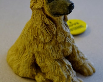 "Afghan Hound Figurine with "" I Love Afghans"" Button Pin"