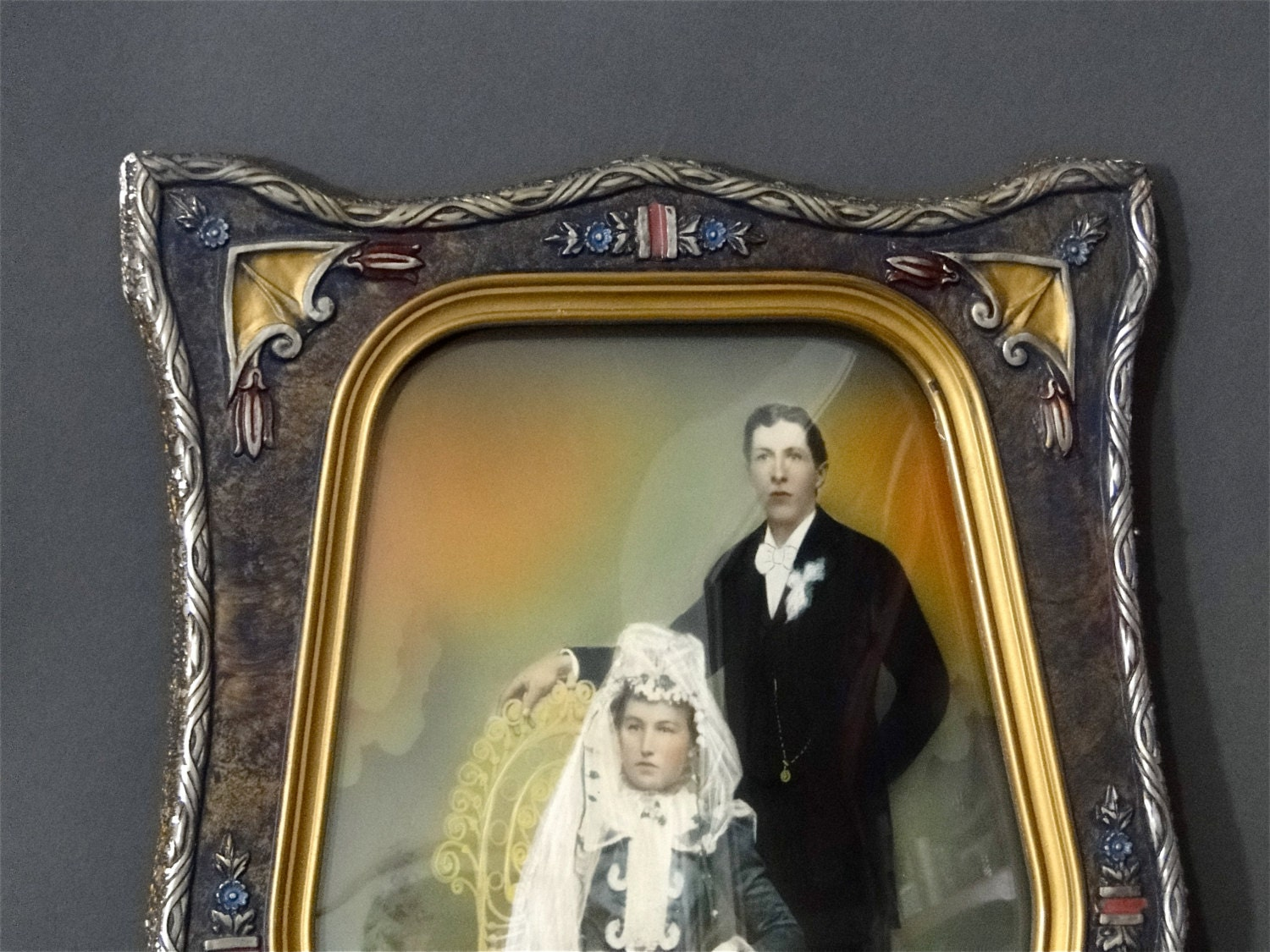 Antique picture frame convex bubble glass hand tinted zoom jeuxipadfo Gallery