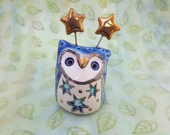 Blue Owl Sculpture with Silver and Gold Luster