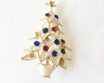 glittery Christmas Tree brooch with rhinestones ornaments