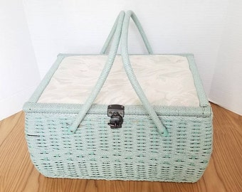 Vintage Fabric Covered Sewing Basket, Floral Sewing Box, LARGE, Padded Fabric Sewing Box, Shabby Chic, Fabric  and Wicker Storage Box, 1960s