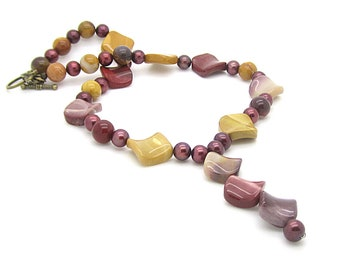 Mookaite Necklace, Mookaite Gemstone Jewellery, Chunky Necklace, Earth Tones, Rustic Jewellery, Large Bead Necklace, Semi Precious Stone