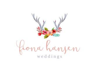 Premade Wedding Business Watercolor Logo - DIY Logo PSD & EPS Template - Instant Download