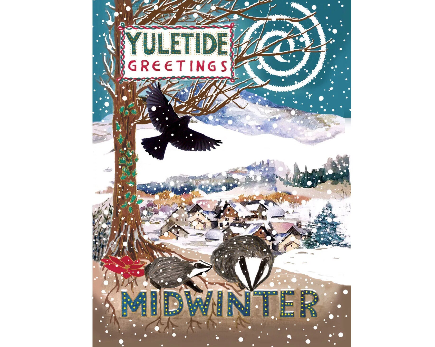 Yuletide Winter Solstice Badger Snowscene Colourful Pagan