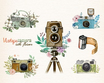 Camera, Watercolor camera, retro camera, Flowers & Cameras, photocamera, film, boho, floral, vector clipart Black Friday