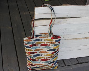 Tote Bag with Colorful Fish Linen Tote Bag Natural Linen Bag Fish Pattern Handmade Linen  bag with Fish
