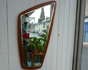 Mid Century Teak ASYMETRIC Mirror Made in Denmark DANISH Vintage Retro Scotland   Hall
