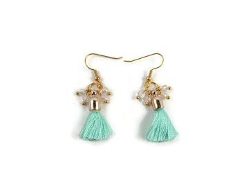 Mint Tassel Cluster Earrings