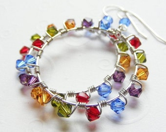 Wire-wrapped Hoop Earrings with Jewel-Tone Swarovski Crystals on French Hooks. Rainbow. Red. Blue. Purple. Green. Yellow.