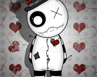 You Stitch My Heart 8x10 digital print by Kristie Silva voodoo doll stitched heart monster creature
