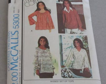 Vintage Cut 1976 McCall's 5300 Sewing Pattern, Marlo's Corner BoHo Tops, Size Small