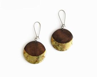 Wood Dangle Earrings, Crescent Earrings, Wooden Earrings, Gold Crescent Circle Earrings, Bold Jewelry