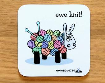 Cute knitting sheep coaster, Ewe knit! Fun coaster, Funny drinks mat set, Sheep gifts, Colorful homeware, gifts for knitters,Yarn gift, Wool