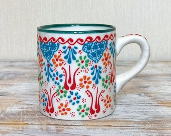 White cup, teacup, mug, drinkware pottery, colorful pottery, pottery cup, gift pottery, coffee mug, handmade cup, tumbler, handpainted cup
