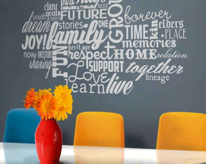 family love word cloud vinyl wall decal, words about family, love, wall sticker art, FREE SHIPPING