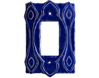 Moroccan Ceramic Single Rocker GFI Light Switch & Outlet Cover in Sapphire Blue