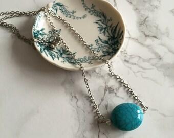 Large Turquoise Bead Bar Necklace