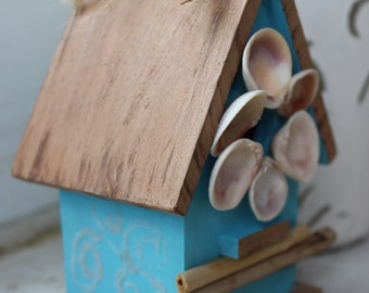 Coastal Birdhouse Hand Painted With Artistic Shell Wreath , Sand Art & Driftwood One of a Kind Beach House Decor