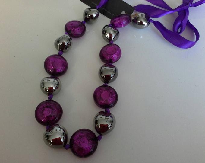 Chunky Purple & Gunmetal Silver Acrylic Resin Beaded Ribbon Necklace