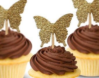 Glitter Gold Butterfly Cupcake Topper 24CT, Fairy Party Decoration, Birthday, Garden Party Baby Shower Decor, Wedding Party Picks - No1126